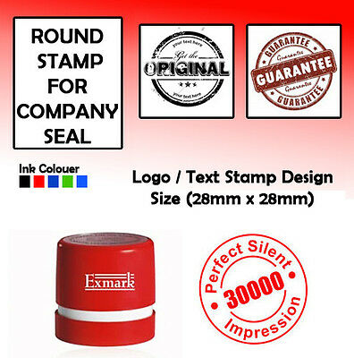 PERSONALISED SELF INKING RUBBER STAMP, COMPANY SEALS  28mm x 28mm R ROUND STAMP