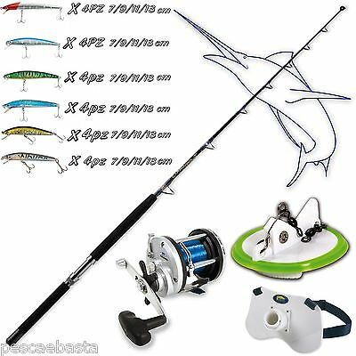 kit completo pesca traina mare barca canna carbonio mulinello artificiali PB0188