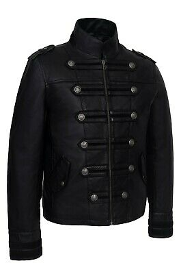 Mens Military Jacket Black New Smart Casual Vintage Real Lambskin Leather Jacket