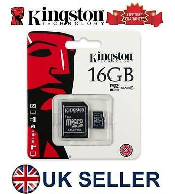 Genuine Kingston 16GB MICRO SD Memory CARD PHONE TABLET CAMERA Console SDC4/16GB