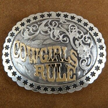 Cowgirls Rule Silver Gold Hand Engraved  Trophy Belt Buckle
