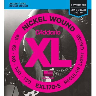 D'addario 1 Set EXL170-5 String Bass Strings Electric Long Scale