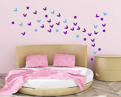 54 Butterfly Flower Wall Art Stickers Up to 54 vinyl decal wall decor design