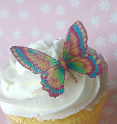 24x edible rainbow wafer butterfly cupcake cake toppers fairy birthday
