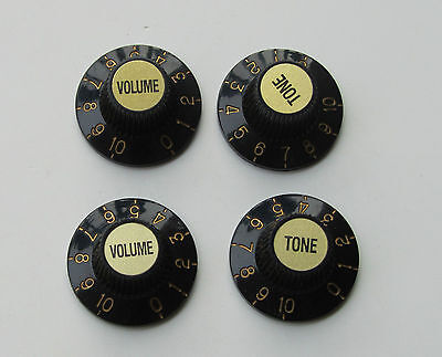 Black W/ Gold Witch Hat Knobs Guitar Knobs for LP Epiphone SG