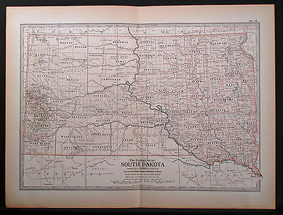 1897 Double Page Map, South Dakota, Century Atlas, Color, Good Detail, Margins