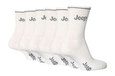 6 Pairs Boys Designer Jeep Sport Socks White Size 9-12 Uk, 27-30.5 Eur