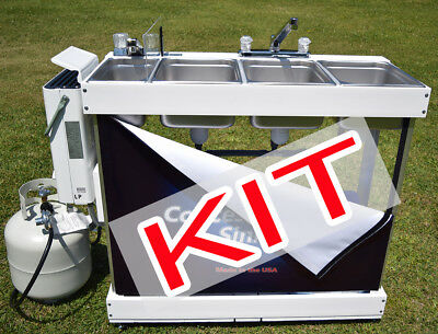 Large Propane Concession Sink KIT WITH PARTS, 3 Compartments, Hot Water