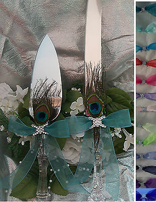 PEACOCK      Wedding Cake Knife & Server SET  * Your Color Ribbon*  COLORS
