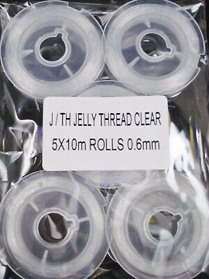 Elastic Stretch Thread 5 x 10m Clear 0.6mm Beading Jelly Cord FREE POSTAGE
