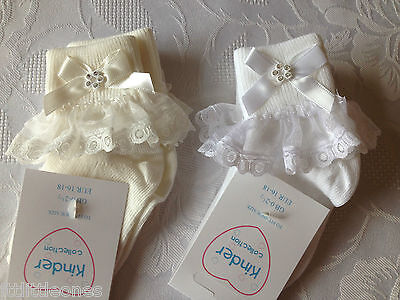 Little Baby Girls Christening/wedding  Socks White Or Ivory With Diamante/lace
