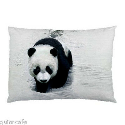 RARE Panda Walking on the Snow Pillow Case (Two Sides)