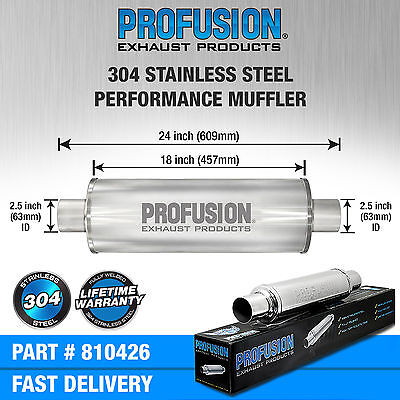 "2.5"" (63mm) 4x18""inch Round Universal Stainless Steel Profusion Exhaust Silencer"