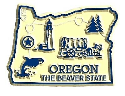 Oregon the Beaver State Map Fridge Magnet