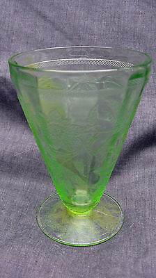 1931 Green Depression Glass Floral Poinsettia 4 3/4 Inch 7 Ounce Footed Tumbler