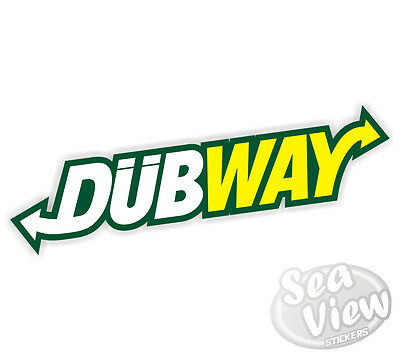 2 x Dubway Car Stickers Decal Funny Sticker Slogan Ratlock Bombing VW DUB EURO