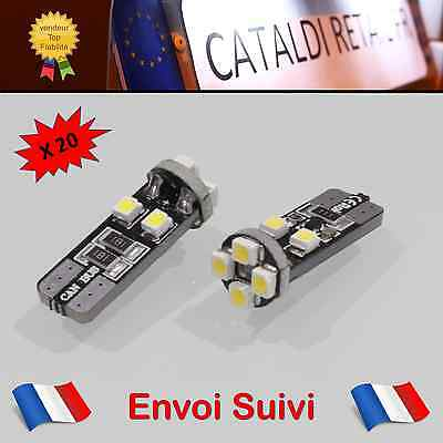 20 x Veilleuses LED T10 W5W 8 SMD Canbus Anti Erreur ODB Blanc Pur / FRANCE !