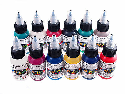 Airbrush Paint- Pro Color - Opaque Set 1Oz (Kit Of 12 1Oz Bottles)