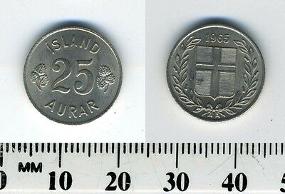 Iceland 1965 - 25 Aurar Copper-Nickel Coin