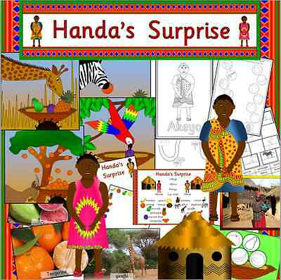 Handa's Surprise & Handa's Hen story teaching resource on CD- EYFS, KS1 Handas
