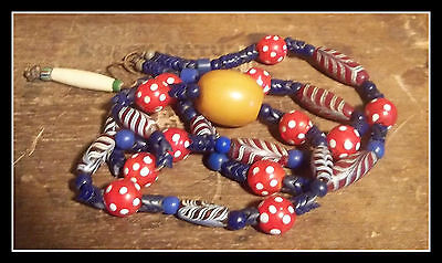Alaska! OLD Trade bead ~ Eye & Feather bead Necklace