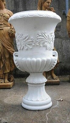 Pair Large Italian Marble Campana Urns Architectural Garden