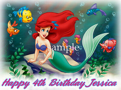 Little MERMAID Edible CAKE Image Icing Topper Decoration FREE SHIPPING