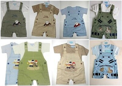 Smart Baby Boys Dungarees Set Short sleeve top Blue Green Beige 0-3-6-9 M SALE