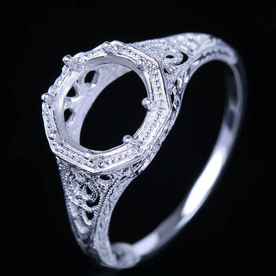 Vintage Style Semi-Mount 7.5mm Round Engagement Wedding Sterling Silver 925 Ring