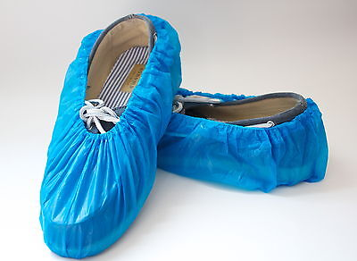 100 Blue Disposable Plastic Shoe Covers Free Shipping