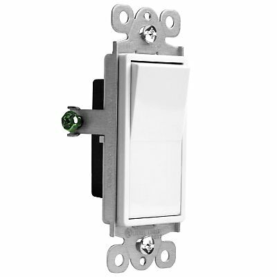 Decorator 15A Switch 3-Way Lighted Illuminated Rocker Switch Light Control White
