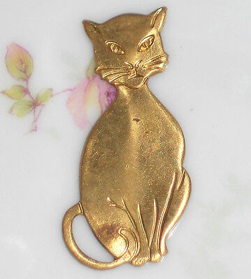 #449 Vintage CAT Cabochon Stamping Finding Brass Kitten Jewelry Findings