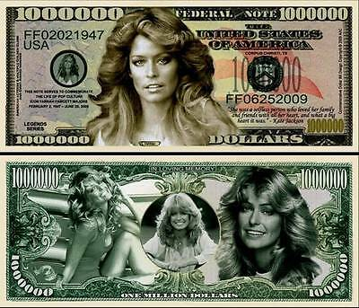 FARRAH FAWCETT - BILLET DE COLLECTION 1 MILLION DOLLAR US ! Droles de Dames