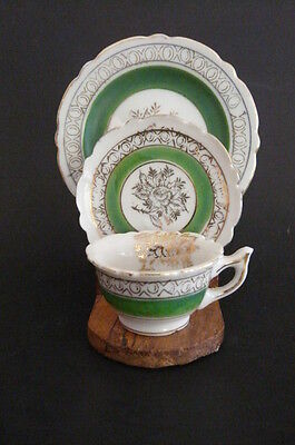 OCCUPIED JAPAN SET OF 3 MINIATURE PIECES: CUP, SAUCER AND PLATE  WITH  STAND