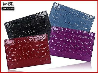 NWT_Coach Embossed Liquid Gloss Credit Card Case ~ F62544