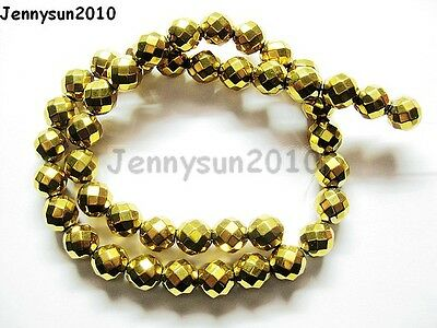 Hematite Gemstone Faceted Round Ball Beads 16'' Gold 2mm 3mm 4mm 6mm 8mm 10mm