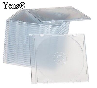 Yens® 200 New Clear Single Slim CD DVD Jewel Case 5.2mm 200#5CCD