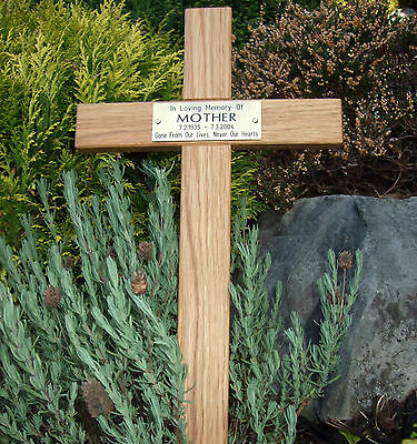 "24"" Oak Wood Memorial Cross Wooden Grave Marker Personalised Engraved Plaque"
