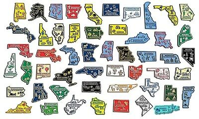 All 50 State Map Magnets Plus Washington DC and Puerto Rico No Board Included