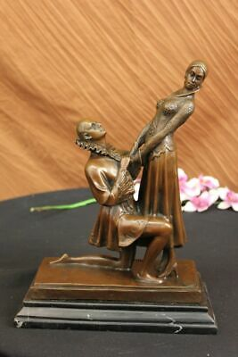 Vintage Lovers Dancers Anniversary Wedding Bronze Marble Statue Romance Gift Art