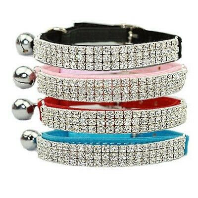 Cat Safety Collar Pet Suede Crystal - Red, Blue, Pink, Black & Purple - 30cm