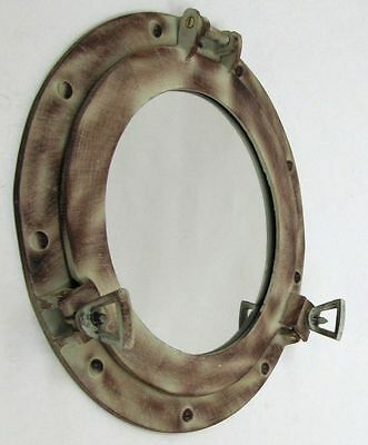 "12"" Porthole Mirror ~ Red / Brown Finish ~ Aluminum ~ Nautical Maritime Decor"