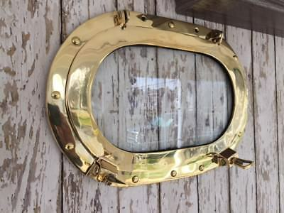 "15"" x 10"" Polished Brass Porthole Glass / Window ~ Nautical Maritime"