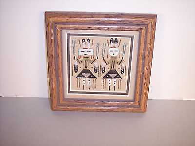 "Navajo Indian Dancing  Yeis Framed Sand Painting  by Sandra Thomas 5"" x 5"" NEW"