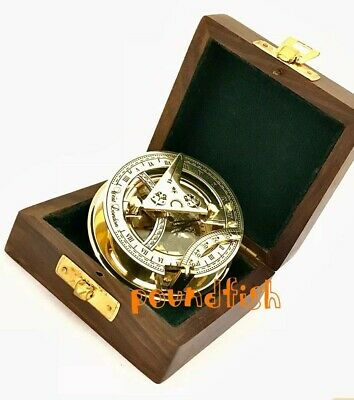 Brass Sundial Compass - Pocket Sundial- with wooden case.