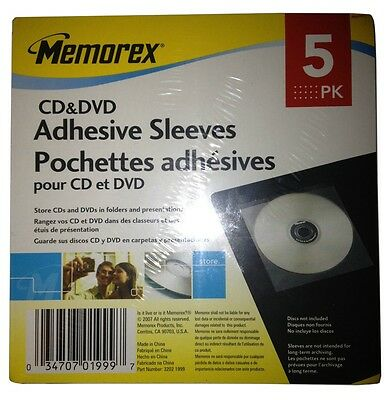 Memorex CD & DVD Adhesive Sleeves 5 Pack