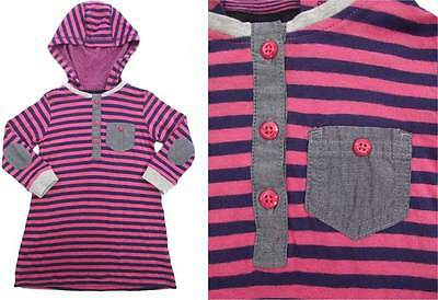 NEXT Baby Girls Hooded Long Sleeve Striped Dress in Pink and Navy NEW