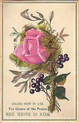Embossed Victorian Trade Card-White Sewing Machine-Cleveland, OH-Rose-Berries