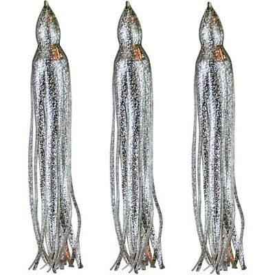 "5.5"" to 8.5"" Octopus Squid Hoochie Replacement Skirt - Silver Sparkle - 3 Pack"