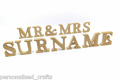 Wedding Mr & Mrs With Personalised Surname Wooden Freestanding Letters